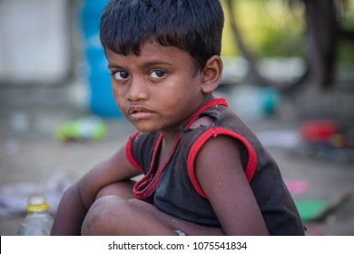 Bodh Gaya, India - OCTOBER 21 2017: An unidentified beggar kids