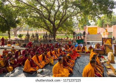 Bodhgaya, Bihar India - February 13,  2016 : People at Bodhgaya, and Bodh Gaya is a religious site of Buddhism