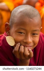Bodhgaya, Bihar India - February 20,  2016 : People at Bodhgaya, and Bodh Gaya is a religious site of Buddhism