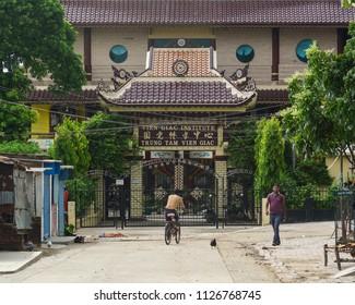 Bodhgaya, India - July 9, 2015. Buddhist pagoda in Bodhgaya, India. Bodhgaya is the most revered of all Buddhist sacred sites.