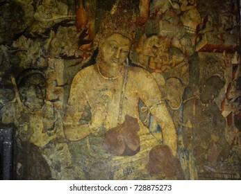 Bodhisattva Padmapani with lotus flower painting, Ajanta caves, Maharashtra, India