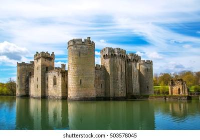 BODIAM, UK - 1 MAY, 2016: Bodiam Castle 14th-century moated fortification. England, UK