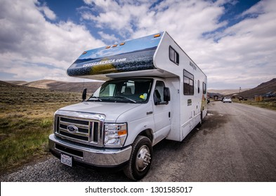 Bodie, California - July 7, 2018: A Cruise America RV recreational vehicle is parked in Bodie Ghost Town. These cars are rental RVs for tourists, and popular in the Western United States