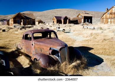 Bodie ghost town in California with abandoned gold and silver mines.