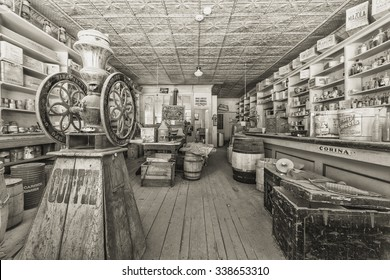 BODIE, MONO COUNTY, CALIFORNIA, USA - SEPTEMBER 22:  Historic Bodie store stocked with provisions as they appeared when it was abandoned in 1915, on September 22, 2015 in Bodie, California, USA.
