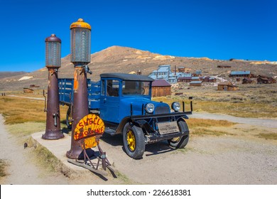 BODIE - Old Dodge truck at a Shell gas station at ghost town Bodie State Park, California on September 3, 2014