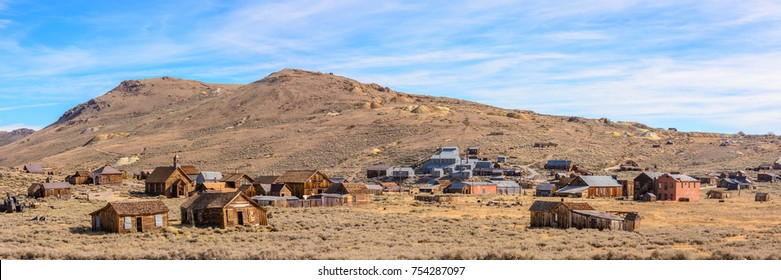 Bodie State Park, A ghost town that was a wild west mining town. 1:3 Panorama.