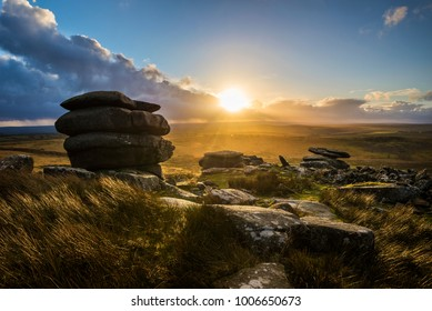 Bodmin Moor at sunset as seen from Stowes Hill Tor enclosure, Cornwall, UK