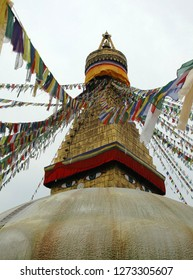 Bodnath stupa in Nepal, Katmandu and tibetan prayer flags
