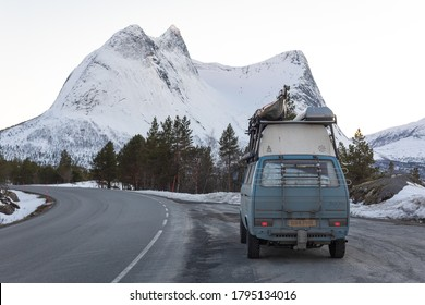 Bodo, Bodo Municipality / Norway - 04/04/2019: A shot of my vanagon syncro during a northern Norway road trip.