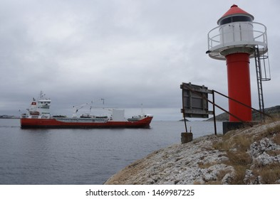 BODO, NORDLAND COUNTY / NORWAY - AUGUST 04 2019: Norway cargo vessel Kristian With near the Bodo (Bodø), Nordland, Norway. Passenger ship Bodø