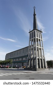 BODO, NORDLAND COUNTY / NORWAY - AUGUST 10 2019:  Bodo Cathedral or Bodo domkirke is a cathedral in the municipality of Bodo (Bodø) in Nordland county, Norway. Freestanding bell tower