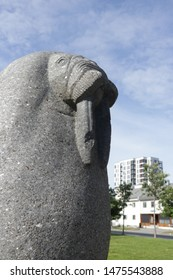 BODO, NORDLAND COUNTY / NORWAY - AUGUST 10 2019: Walrus statue on the town hall square of the city of Bodo (Bodø), Nordland county