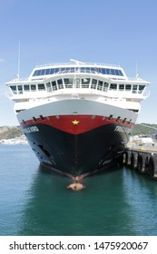BODO, NORDLAND COUNTY / NORWAY - AUGUST 10 2019: Trollfjord cruise ship in the Bodo (Bodø) harbour, Nordland county