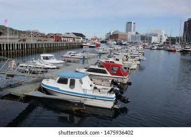 BODO, NORDLAND COUNTY / NORWAY - AUGUST 10 2019: : View on the boats which located in the port of Bodo (Bodø), Norway