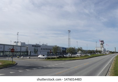 BODO, NORDLAND COUNTY / NORWAY - AUGUST 10 2019: An airport building of town Bodo (Bodø). Bodo Airport, Norland county, Norway