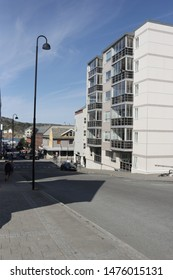 BODO, NORDLAND COUNTY / NORWAY - AUGUST 10 2019: Outdoor view on the streets of the city of Bodo (Bodø), during summer. City center of Bodo (Bodø), Nordland county