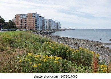 BODO, NORDLAND COUNTY / NORWAY - AUGUST 10 2019: Outdoor view on the streets of the city of Bodo (Bodø), during summer. Breivika district of Bodo (Bodø), Nordland county