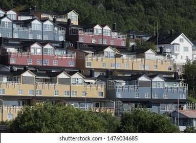 BODO, NORDLAND COUNTY / NORWAY - AUGUST 03 2019: Outdoor view on the streets of the city of Bodo (Bodø), during summer. Rønvik district of Bodo (Bodø), Nordland county