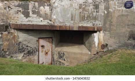 BODO, NORDLAND COUNTY / NORWAY - AUGUST 10 2019: The entrance to the World War II bunker in the center of Bodo (Bodø). Tyskbunker