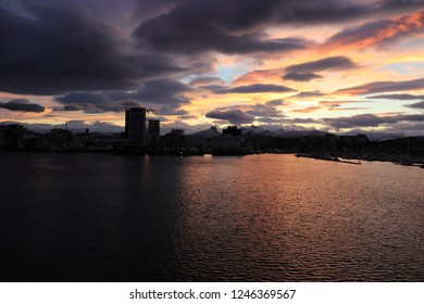 BODO, NORDLAND COUNTY / NORWAY - DECEMBER 01 2018:  Morning view on the city of Bodo (Bodø) from the Nyholms Fort viewpoint, Norway