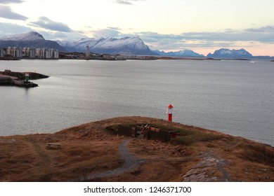 BODO, NORDLAND COUNTY / NORWAY - DECEMBER 01 2018:  Morning view on the Nyholmen lighthouse, Norway