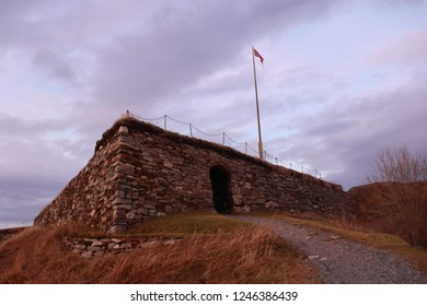 BODO, NORDLAND COUNTY / NORWAY - DECEMBER 01 2018: Nyholms Fort in the city of Bodo (Bodø), Norway
