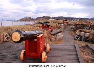 BODO, NORDLAND COUNTY / NORWAY - DECEMBER 01 2018: The cannons at the Nyholms Fort in the city of Bodo (Bodø), Norway