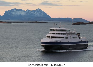 BODO, NORDLAND COUNTY / NORWAY - DECEMBER 01 2018:  Morning view on the ships from the Nyholmen lighthouse, Norway