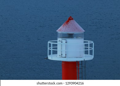 BODO, NORDLAND COUNTY / NORWAY - DECEMBER 01 2018: Winter view on the Nyholmen lighthouse, Norway