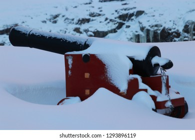 BODO, NORDLAND COUNTY / NORWAY - JANUARY 20 2019: The cannons at the Nyholms Fort in the city of Bodo (Bodø), Norway