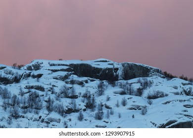 BODO, NORDLAND COUNTY / NORWAY - JANUARY 20 2019: Winter view on peak on the Litle Hjartøya island which is located in Bodø, Nordland, Norway