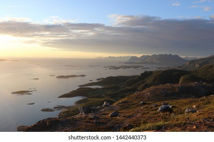 BODO, NORDLAND COUNTY / NORWAY - JULY 04 2019: Midnight view from the Keiservarden viewpoint on the Nordland coastline
