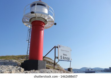 BODO, NORDLAND COUNTY / NORWAY - JULY 27 2019: Summer view on the Nyholmen lighthouse, Welcome to Bodo (Bodø)