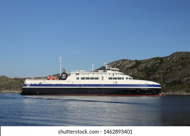 BODO, NORDLAND COUNTY / NORWAY - JULY 27 2019: Norway sea ferry near the Bodo (Bodø), Nordland, Norway. Passenger ship Vaeroy