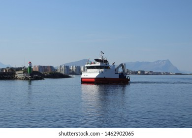 BODO, NORDLAND COUNTY / NORWAY - JULY 27 2019: Norweign ship that collects trash near the Bodo (Bodø), Nordland, Norway.