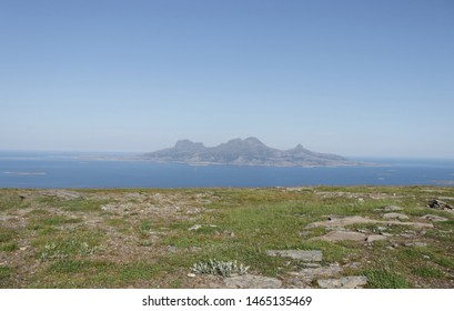 BODO, NORDLAND COUNTY / NORWAY - JULY 28 2019: Morning view on the Landegode island from Løpsfjellet near city of Bodo (Bodø)