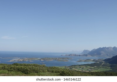 BODO, NORDLAND COUNTY / NORWAY - JULY 28 2019: Morning view from the Løpsfjellet viewpoint on the Nordland coastline