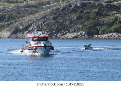 BODO, NORDLAND COUNTY / NORWAY - JULY 18 2020: Hans Herman Horn (RS 168) vessel near the Bodo harbour.  RS 168 is a Norwegian rescue ship
