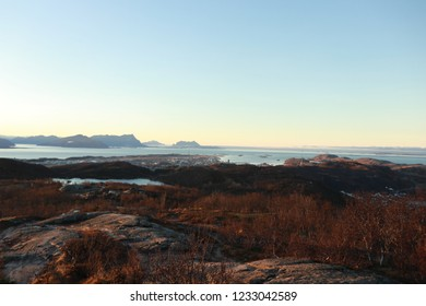 BODO, NORDLAND COUNTY / NORWAY - NOVEMBER 18 2018:  Morning view on the city of Bodo (Bodø) from the Keiservarden viewpoint, Norway