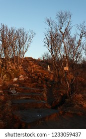 BODO, NORDLAND COUNTY / NORWAY - NOVEMBER 18 2018: Hiking trail to the Keiservarden viewpoint near city of Bodo (Bodø), Norway