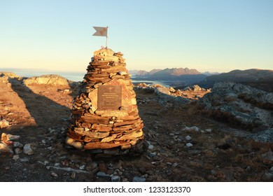 BODO, NORDLAND COUNTY / NORWAY - NOVEMBER 18 2018: Plaque in honor of Wilhelm IIs climb, mounted on a real varden