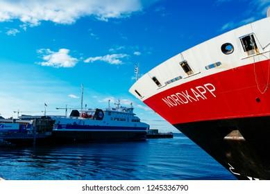 BODO, NORWAY - February 11, 2018: Stopover of the MS Nordkapp in the Port of Bodo