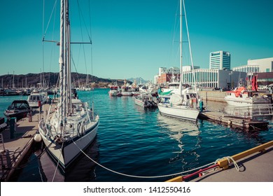 BODO, NORWAY - MAY 22, 2019: View of the marina and sailing boats. Yacht port located in the port of Bodo. Nordland. Norway.