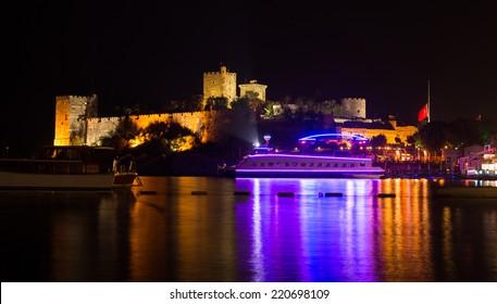 Bodrum Castle at Night in Aegean Coast of Turkey