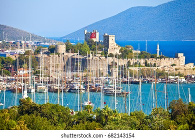 Bodrum Kalesi (Saint Peter Castle) in Bodrum, view from the sea, Turkey