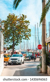 Bodrum, Mugla / Turkey - 05/24/ 2019 :  View of the Gumusluk, Bodrum Marina, sailing boats and yachts in Bodrum town, city of Turkey. Shore and coast of Aegean Sea with yachts and boats
