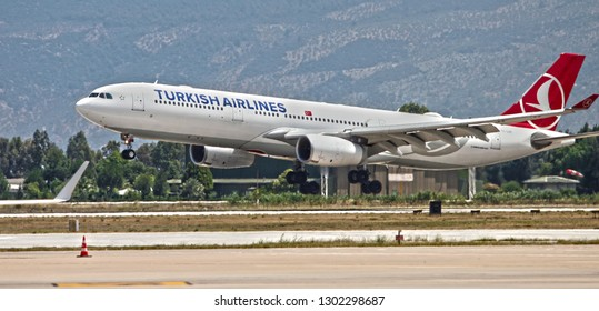 Bodrum, Mugla / Turkey - June 9th, 2018: An Airbus a330 with tail number TC-LOC of Turkish Airlines landing at Bodrum Milas Airport.