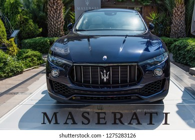 Bodrum / Turkey - 05.30.2018: The main entrance of the Marina Yacht Club in Bodrum sponsored by Maserati