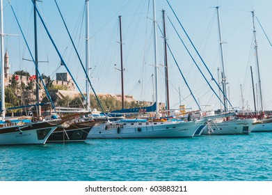 BODRUM, TURKEY - circa 1 August 2014: Wonderful moored yachts in blue bay near Bodrum town.